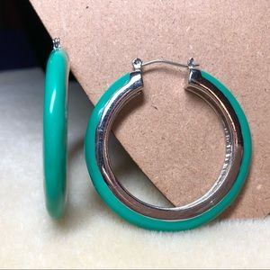 Chico's Turquoise & Silver Hoops